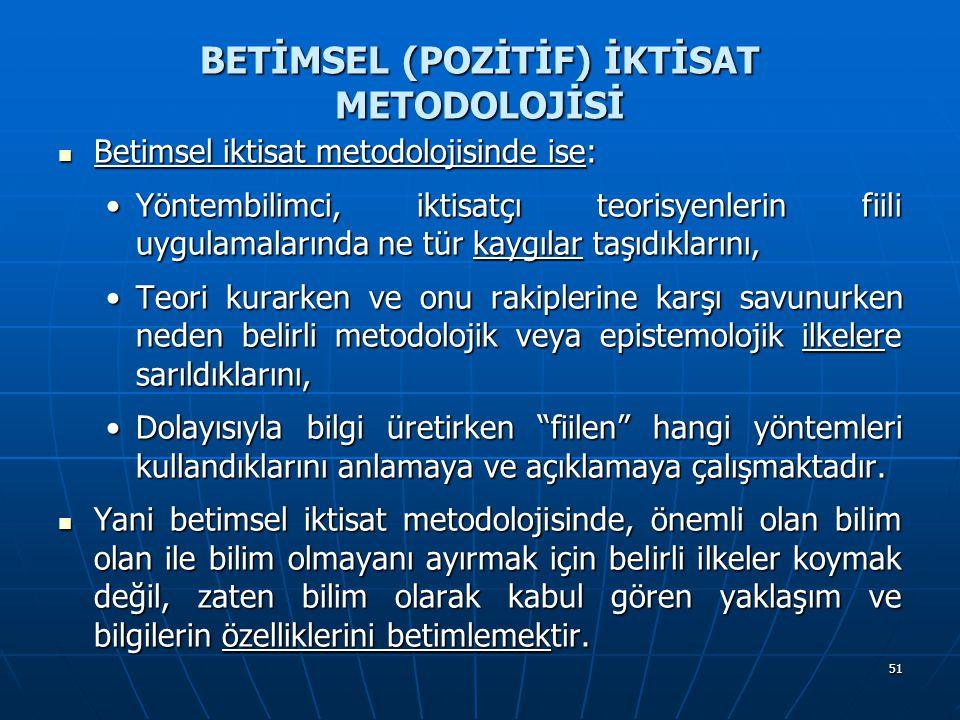 51 BETİMSEL (POZİTİF) İKTİSAT METODOLOJİSİ Betimsel iktisat metodolojisinde ise: Betimsel iktisat metodolojisinde ise: Yöntembilimci, iktisatçı teoris