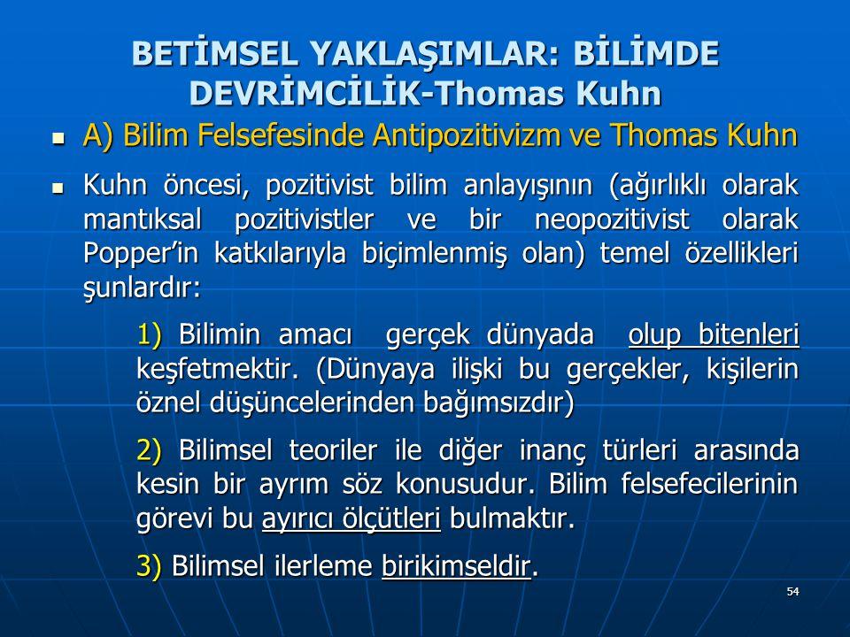 54 BETİMSEL YAKLAŞIMLAR: BİLİMDE DEVRİMCİLİK-Thomas Kuhn A) Bilim Felsefesinde Antipozitivizm ve Thomas Kuhn A) Bilim Felsefesinde Antipozitivizm ve T