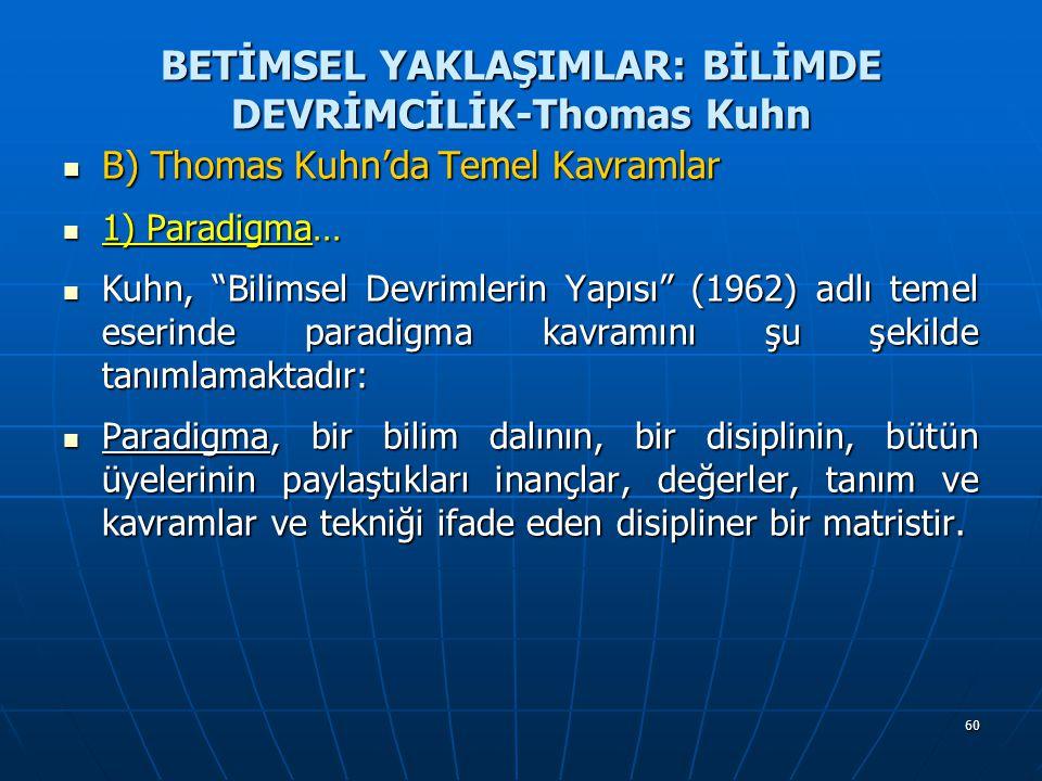 60 BETİMSEL YAKLAŞIMLAR: BİLİMDE DEVRİMCİLİK-Thomas Kuhn B) Thomas Kuhn'da Temel Kavramlar B) Thomas Kuhn'da Temel Kavramlar 1) Paradigma… 1) Paradigma… Kuhn, Bilimsel Devrimlerin Yapısı (1962) adlı temel eserinde paradigma kavramını şu şekilde tanımlamaktadır: Kuhn, Bilimsel Devrimlerin Yapısı (1962) adlı temel eserinde paradigma kavramını şu şekilde tanımlamaktadır: Paradigma, bir bilim dalının, bir disiplinin, bütün üyelerinin paylaştıkları inançlar, değerler, tanım ve kavramlar ve tekniği ifade eden disipliner bir matristir.