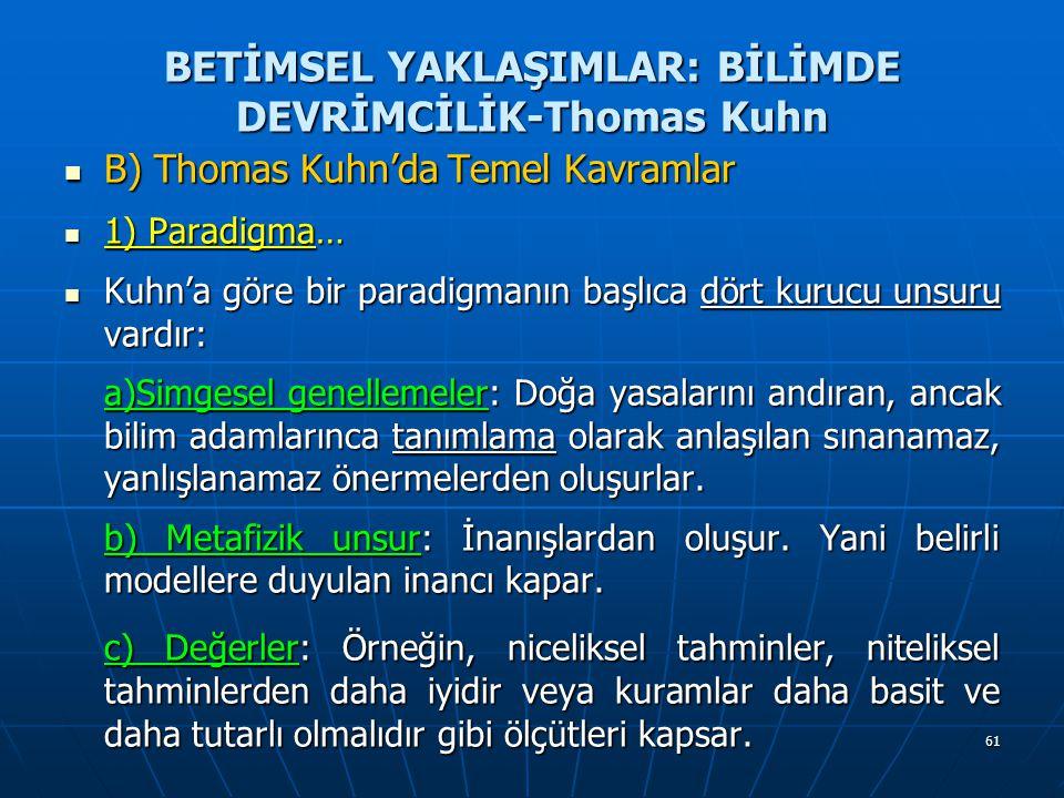 61 BETİMSEL YAKLAŞIMLAR: BİLİMDE DEVRİMCİLİK-Thomas Kuhn B) Thomas Kuhn'da Temel Kavramlar B) Thomas Kuhn'da Temel Kavramlar 1) Paradigma… 1) Paradigm