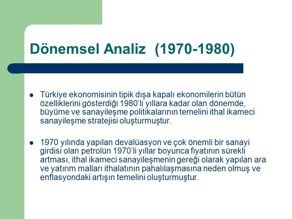 Dönemsel Analiz (1970-1980) Türkiye ekonomisinin tipik dışa kapalı ekonomilerin bütün özelliklerini gösterdiği 1980'li yıllara kadar olan dönemde, büy