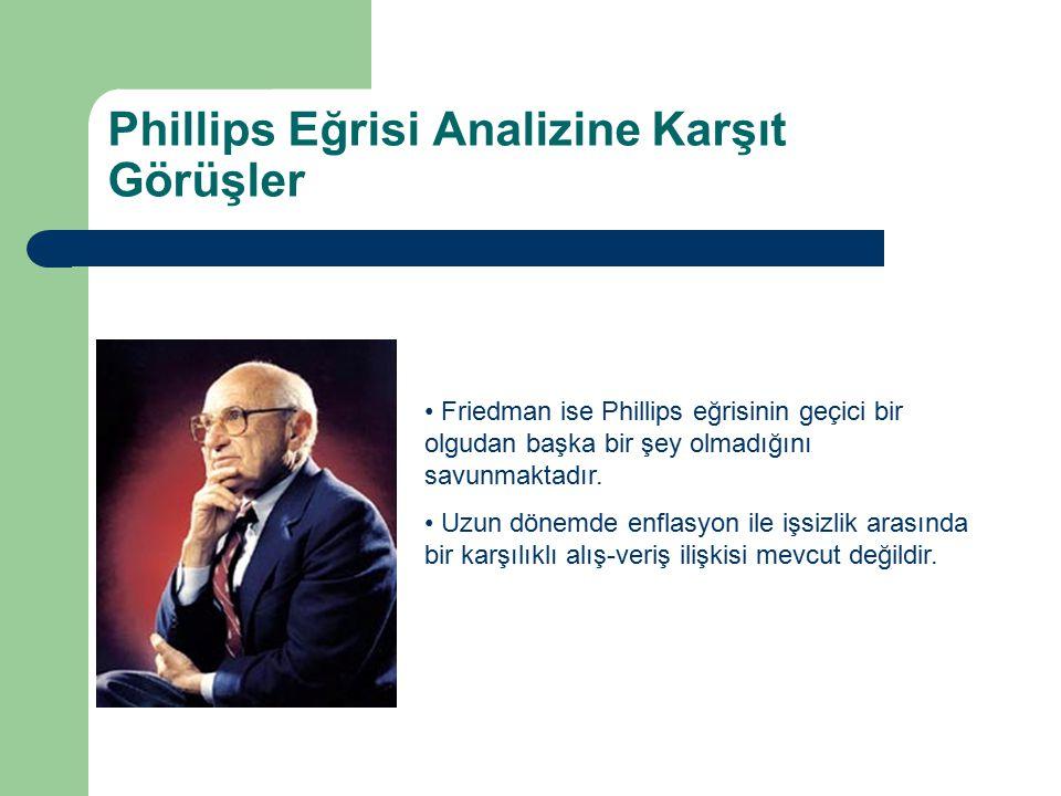 Phillips Eğrisi Analizine Karşıt Görüşler Friedman ise Phillips eğrisinin geçici bir olgudan başka bir şey olmadığını savunmaktadır. Uzun dönemde enfl
