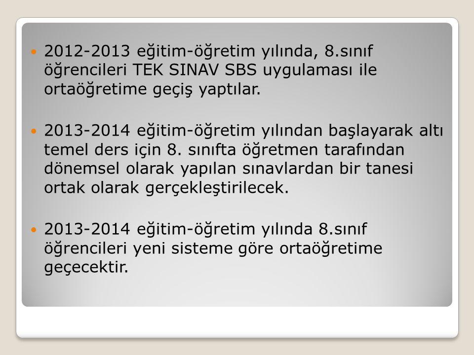 2012-2013 eğitim-öğretim yılında, 8.sınıf öğrencileri TEK SINAV SBS uygulaması ile ortaöğretime geçiş yaptılar. 2013-2014 eğitim-öğretim yılından başl
