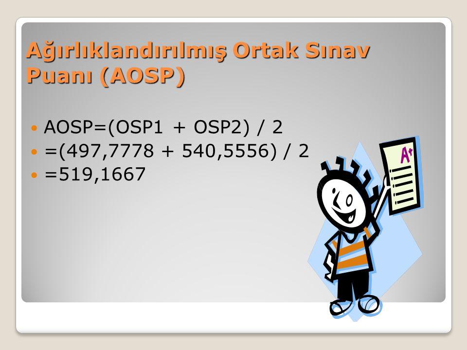 Ağırlıklandırılmış Ortak Sınav Puanı (AOSP) AOSP=(OSP1 + OSP2) / 2 =(497,7778 + 540,5556) / 2 =519,1667