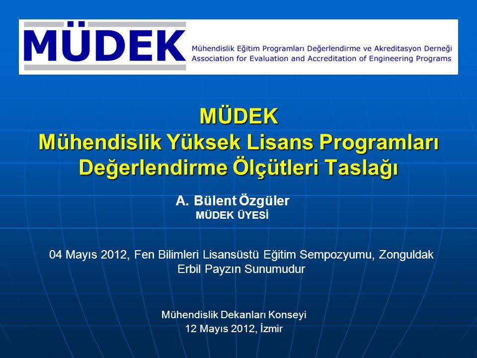 1 12 Mayıs 2012, MDK, İzmir Sunum İçeriği MÜDEK YL Değerlendirme Ölçütleri geliştirme süreci ve gözetilen kısıtlar MÜDEK Değerlendirme Ölçütleri: Genel yapı ve Lisans/YL kıyaslaması Program Çıktıları: Lisans/YL çıktıları kıyaslaması TYYÇ Mühendislik Temel Alanı Yeterlilikleri (YL Eğitimi) ile ilişki EUR-ACE (SC) program çıktıları ile uyum
