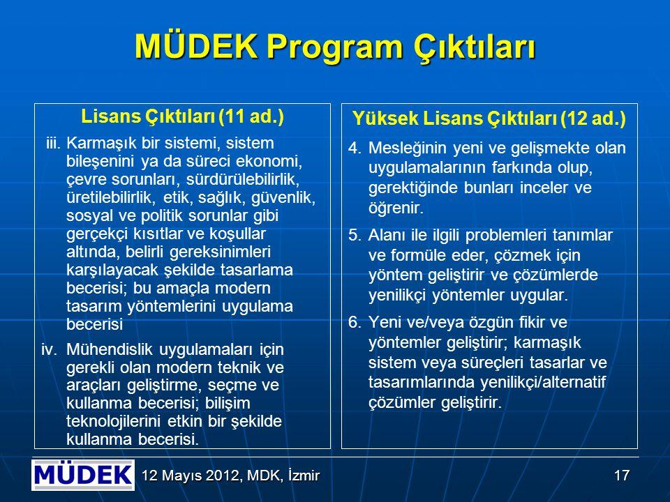 17 12 Mayıs 2012, MDK, İzmir MÜDEK Program Çıktıları Lisans Çıktıları (11 ad.) iii. Karmaşık bir sistemi, sistem bileşenini ya da süreci ekonomi, çevr