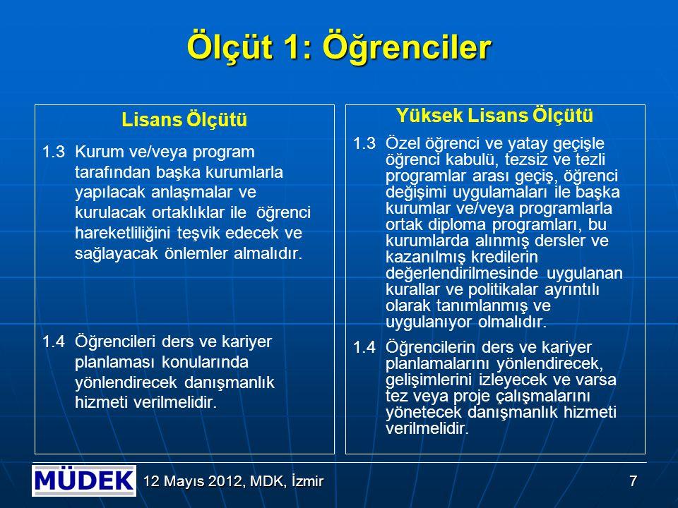 8 12 Mayıs 2012, MDK, İzmir Ölçüt 1: Öğrenciler Lisans Ölçütü 1.5Öğrencilerin program kapsamındaki tüm dersler ve diğer etkinliklerindeki başarıları şeffaf, adil ve tutarlı yöntemlerle ölçülmeli ve değerlendirilmelidir.