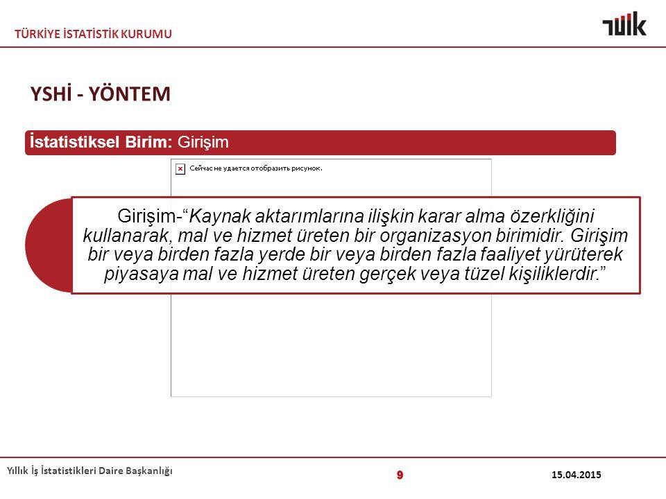 """TÜRKİYE İSTATİSTİK KURUMU Yıllık İş İstatistikleri Daire Başkanlığı 15.04.2015 9 Girişim-""""Kaynak aktarımlarına ilişkin karar alma özerkliğini kullanar"""