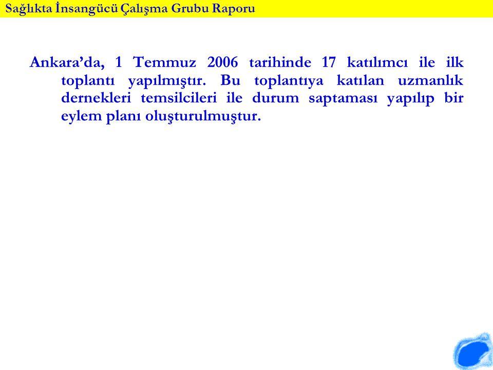Sağlıkta İnsangücü Çalışma Grubu Raporu Ankara'da, 1 Temmuz 2006 tarihinde 17 katılımcı ile ilk toplantı yapılmıştır. Bu toplantıya katılan uzmanlık d