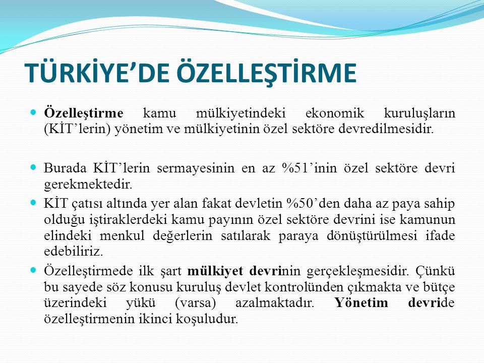 TÜRKİYE'DE ÖZELLEŞTİRME Özelleştirme kamu mülkiyetindeki ekonomik kuruluşların (KİT'lerin) yönetim ve mülkiyetinin özel sektöre devredilmesidir.