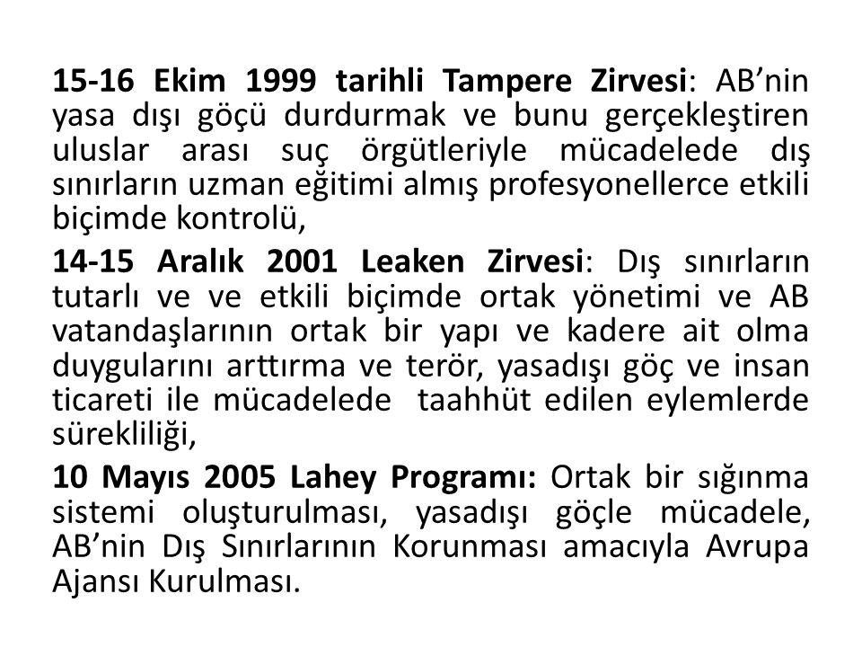 15-16 Ekim 1999 tarihli Tampere Zirvesi: AB'nin yasa dışı göçü durdurmak ve bunu gerçekleştiren uluslar arası suç örgütleriyle mücadelede dış sınırlar