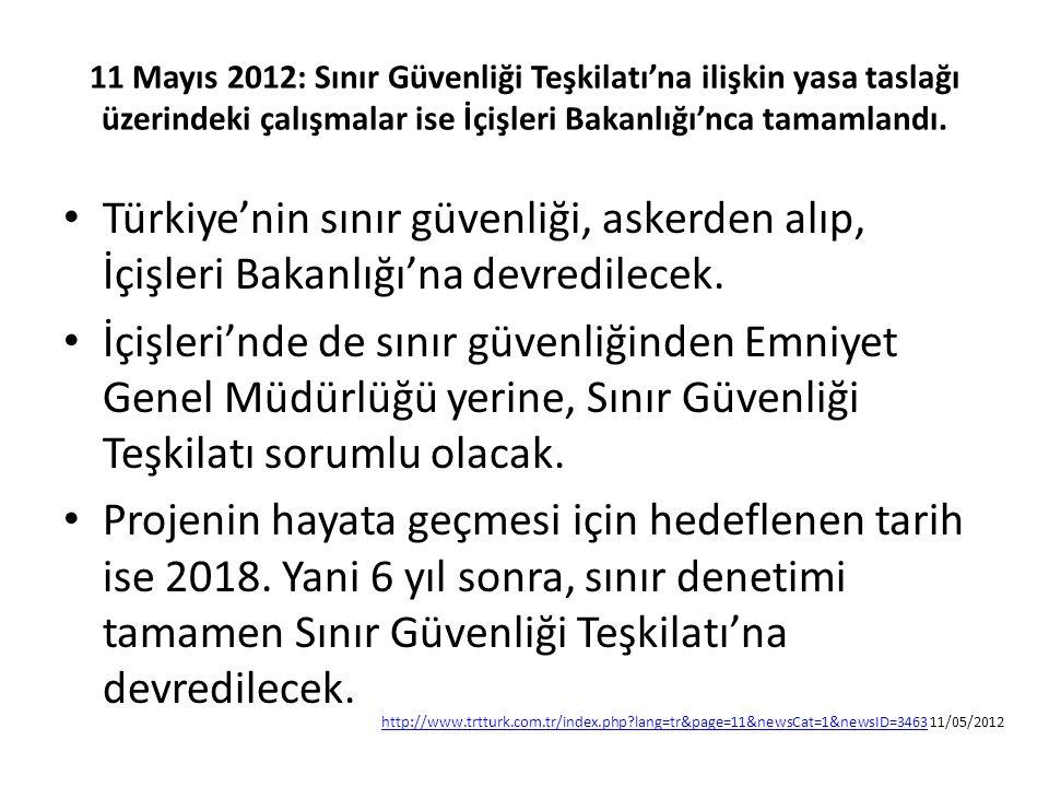 11 Mayıs 2012: Sınır Güvenliği Teşkilatı'na ilişkin yasa taslağı üzerindeki çalışmalar ise İçişleri Bakanlığı'nca tamamlandı. Türkiye'nin sınır güvenl
