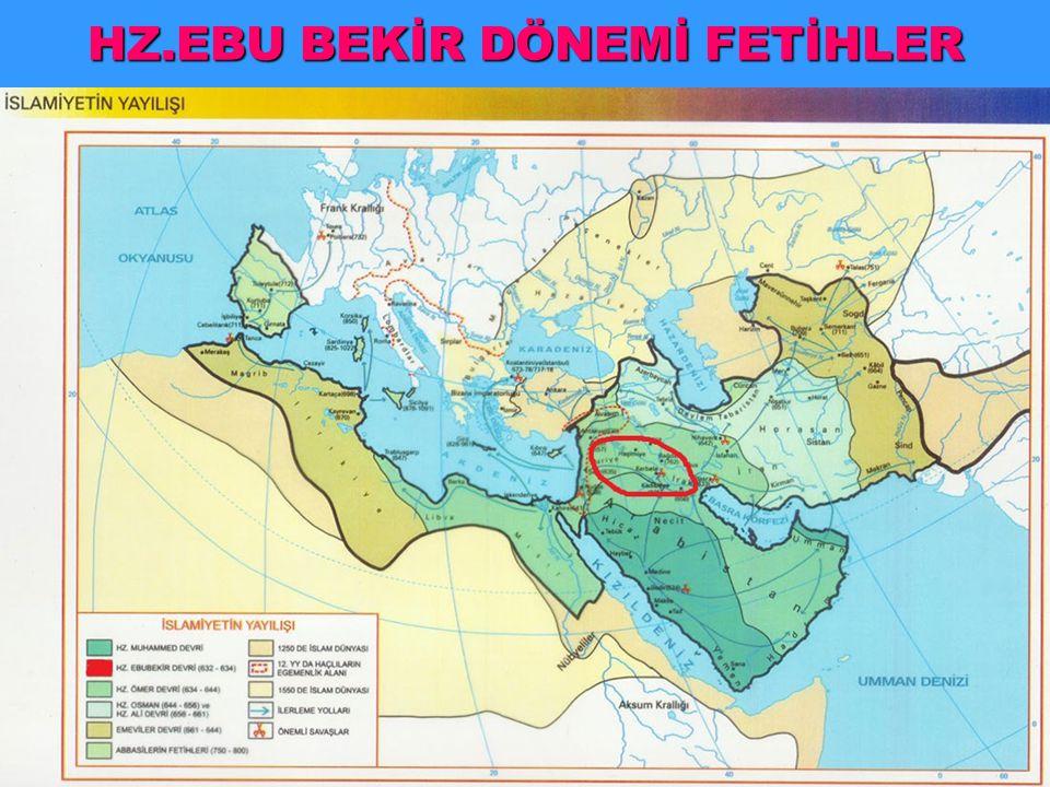 Zekat vermeyen kabileler sorunu Yalancı peygamberler sorunu Kuran-ı Kerim ilk defa kitap haline getirildi 632 Yermük Savaşı Arabistan dışına ilk sefer