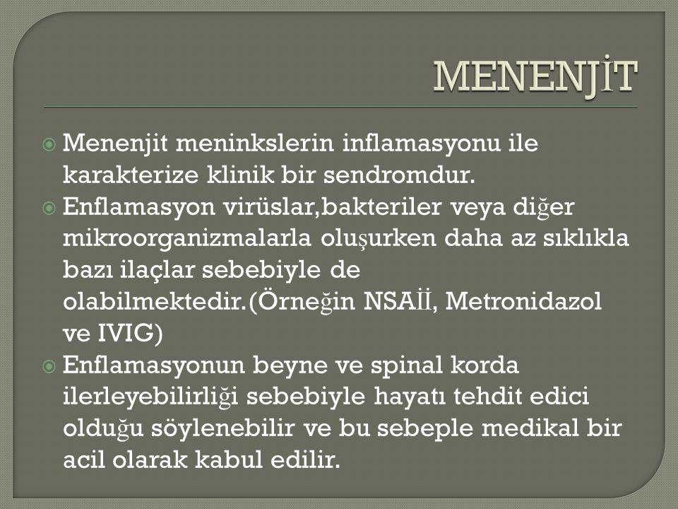  Menenjit meninkslerin inflamasyonu ile karakterize klinik bir sendromdur.  Enflamasyon virüslar,bakteriler veya di ğ er mikroorganizmalarla olu ş u