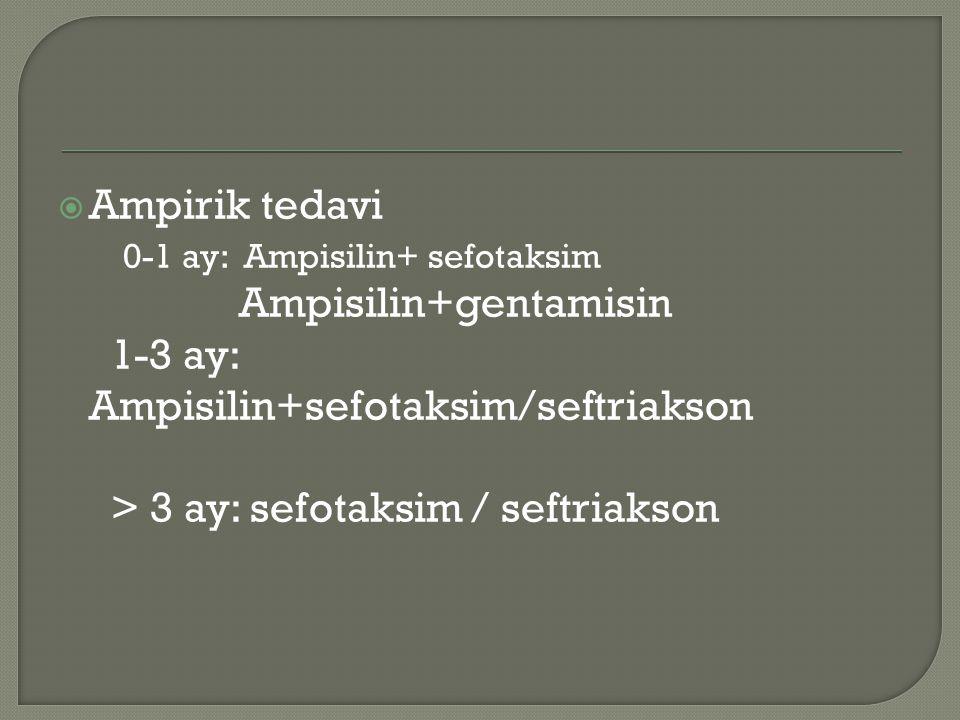  Ampirik tedavi 0-1 ay: Ampisilin+ sefotaksim Ampisilin+gentamisin 1-3 ay: Ampisilin+sefotaksim/seftriakson > 3 ay: sefotaksim / seftriakson