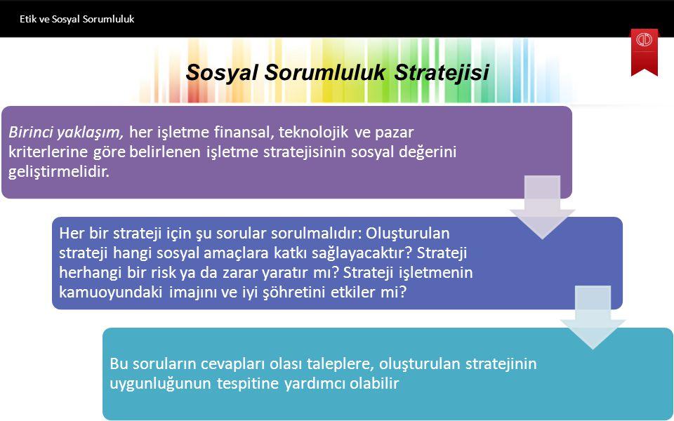 Sosyal Sorumluluk Stratejisi Birinci yaklaşım, her işletme finansal, teknolojik ve pazar kriterlerine göre belirlenen işletme stratejisinin sosyal değ
