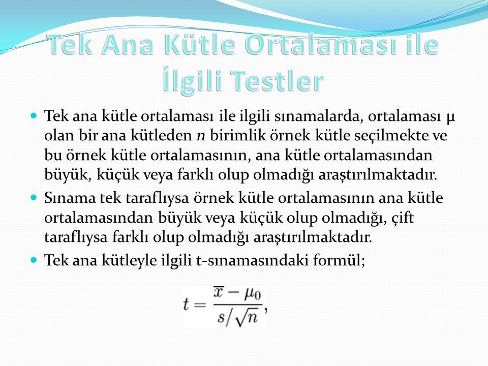 Tek ana kütle ortalaması ile ilgili sınamalarda, ortalaması µ olan bir ana kütleden n birimlik örnek kütle seçilmekte ve bu örnek kütle ortalamasının,