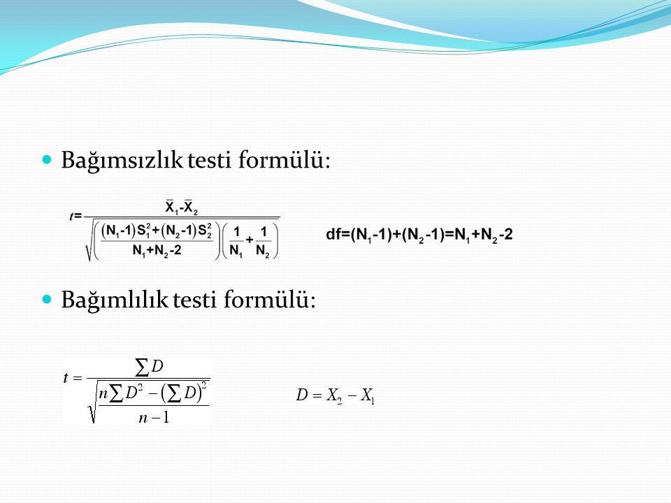 Bağımsızlık testi formülü: Bağımlılık testi formülü: