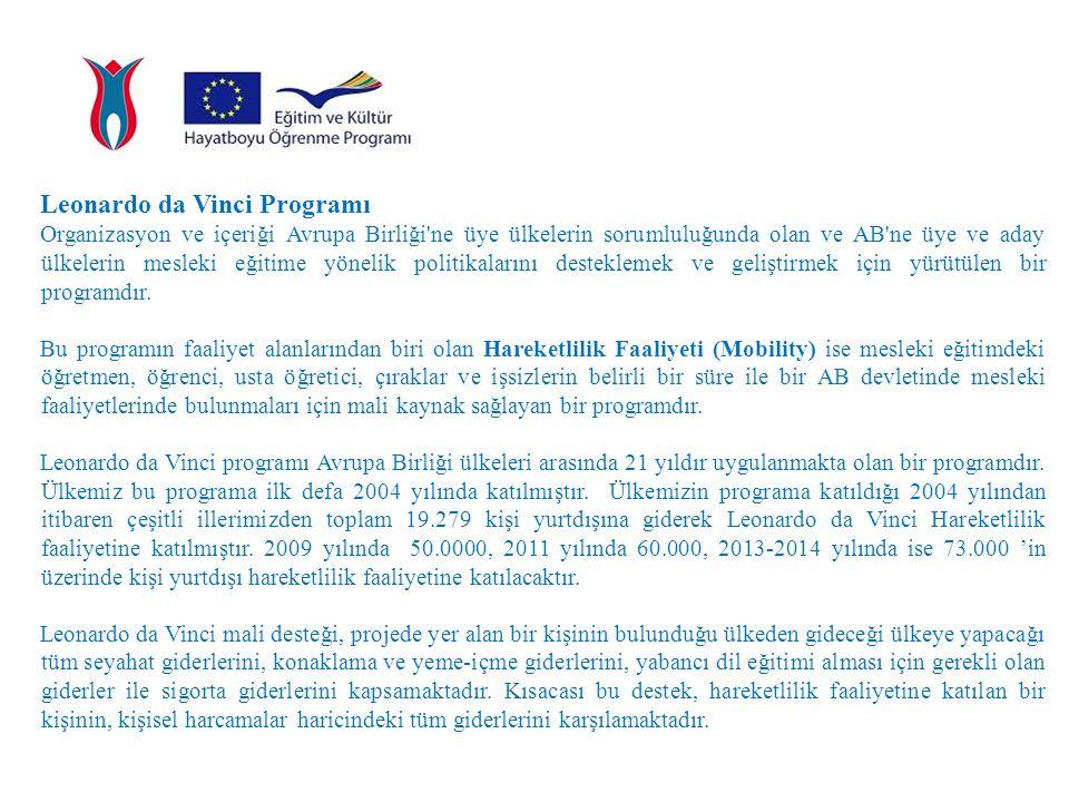 Leonardo da Vinci Programı Organizasyon ve içeriği Avrupa Birliği'ne üye ülkelerin sorumluluğunda olan ve AB'ne üye ve aday ülkelerin mesleki eğitime