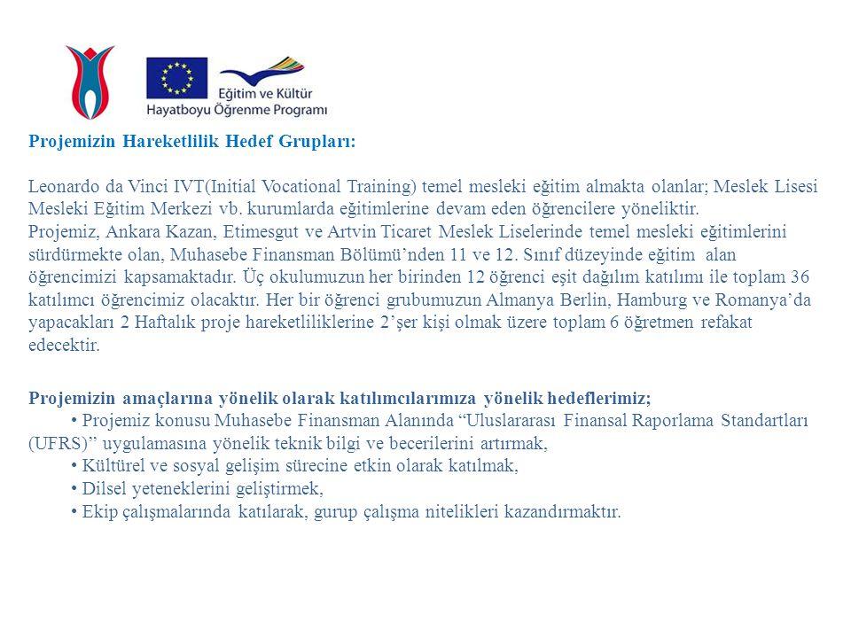 PROJENİN YÜRTÜLMESİ Proje Başvuru Sahibi Kurum Kazan Ticaret Meslek Lisesinin Görevleri 1.