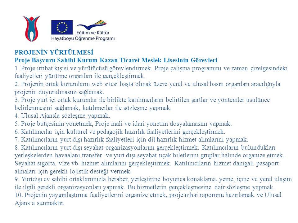 PROJENİN YÜRTÜLMESİ Proje yerel ortak kurumları; Artvin ve Etimesgut Ticaret Meslek Lisesinin görevleri 1.