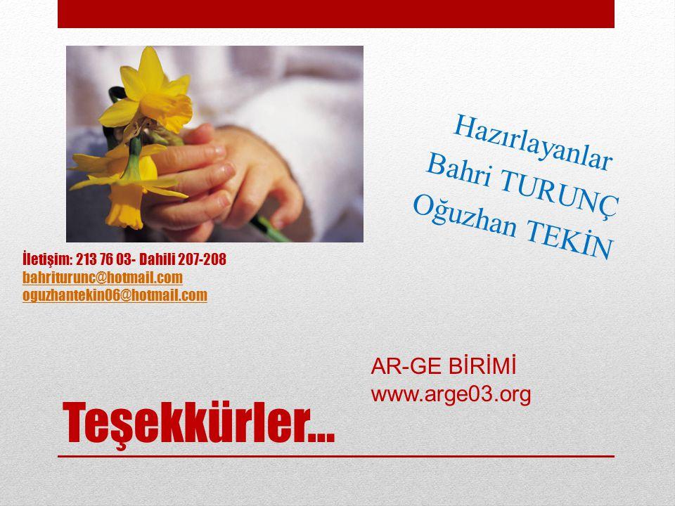 Teşekkürler… Hazırlayanlar Bahri TURUNÇ Oğuzhan TEKİN AR-GE BİRİMİ www.arge03.org İletişim: 213 76 03- Dahili 207-208 bahriturunc@hotmail.com oguzhant