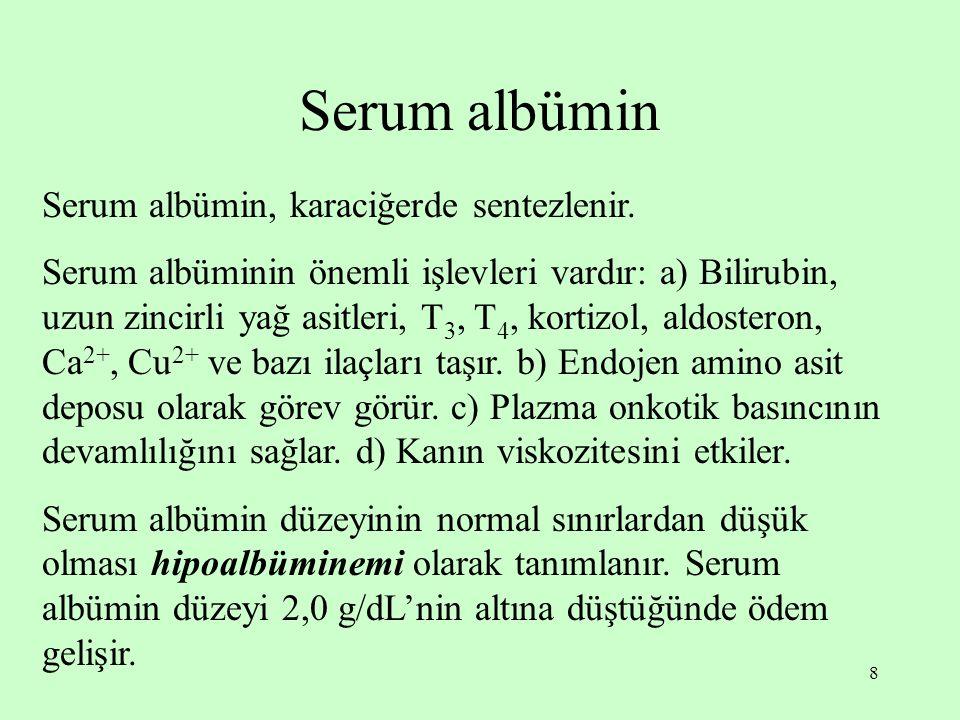 8 Serum albümin Serum albümin, karaciğerde sentezlenir.