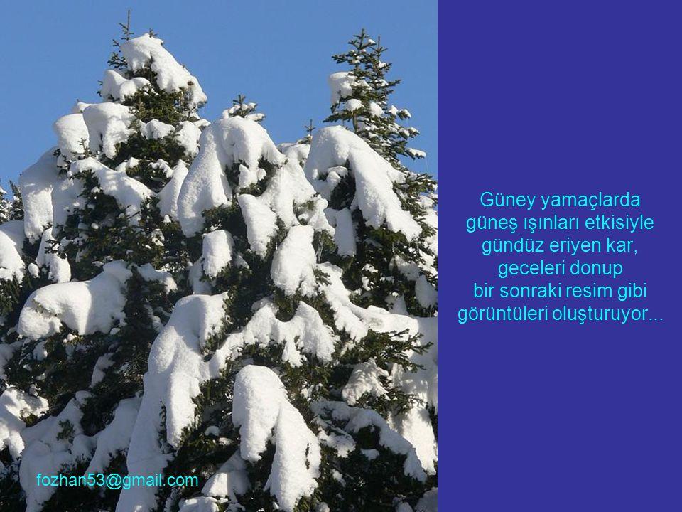 Güney yamaçlarda güneş ışınları etkisiyle gündüz eriyen kar, geceleri donup bir sonraki resim gibi görüntüleri oluşturuyor...