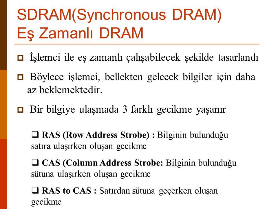 SDRAM(Synchronous DRAM) Eş Zamanlı DRAM  İşlemci ile eş zamanlı çalışabilecek şekilde tasarlandı  Böylece işlemci, bellekten gelecek bilgiler için d