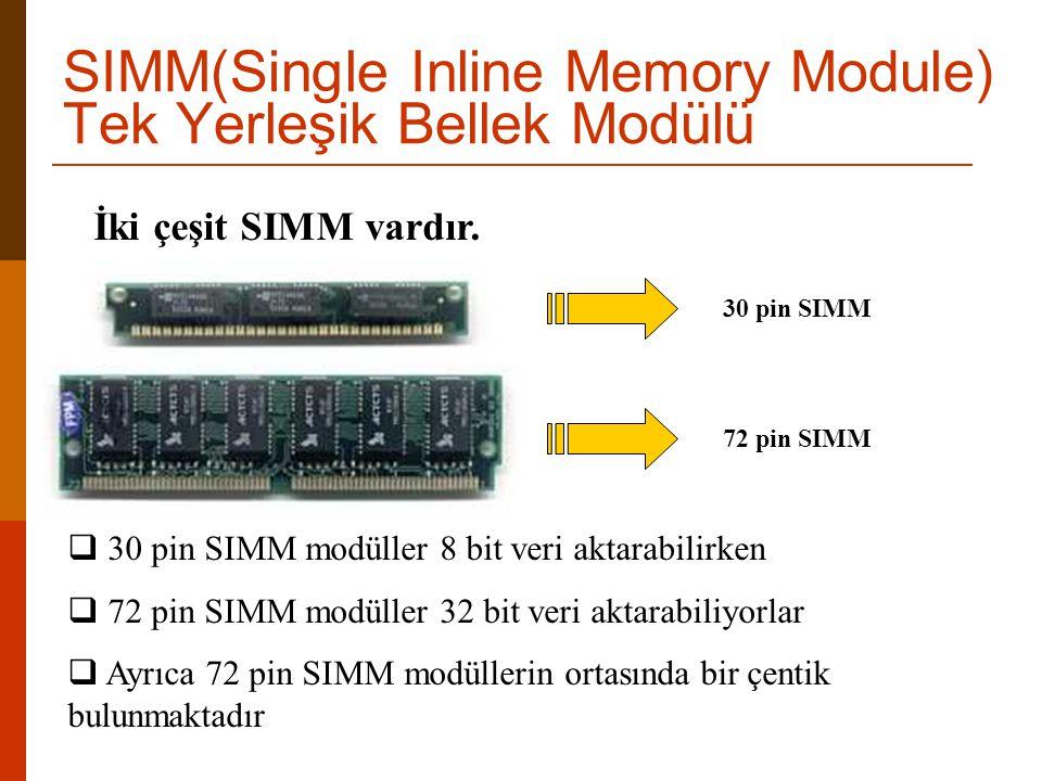 İki çeşit SIMM vardır. 30 pin SIMM72 pin SIMM  30 pin SIMM modüller 8 bit veri aktarabilirken  72 pin SIMM modüller 32 bit veri aktarabiliyorlar  A