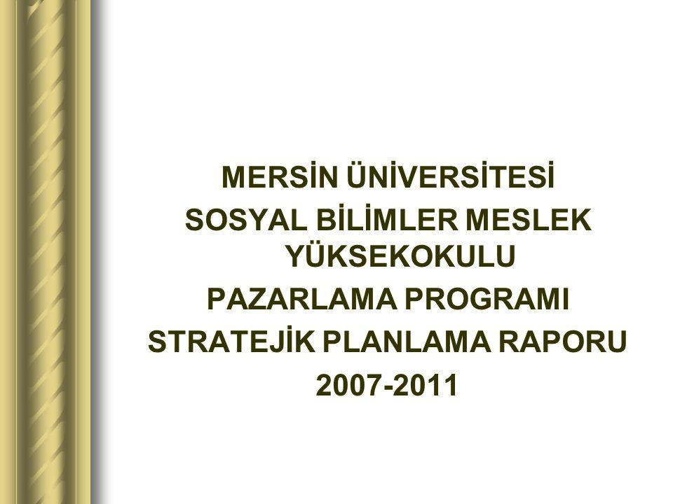 MERSİN ÜNİVERSİTESİ SOSYAL BİLİMLER MESLEK YÜKSEKOKULU PAZARLAMA PROGRAMI STRATEJİK PLANLAMA RAPORU 2007-2011