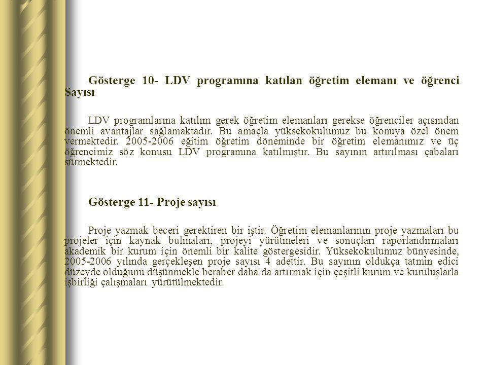 Gösterge 10- LDV programına katılan öğretim elemanı ve öğrenci Sayısı LDV programlarına katılım gerek öğretim elemanları gerekse öğrenciler açısından