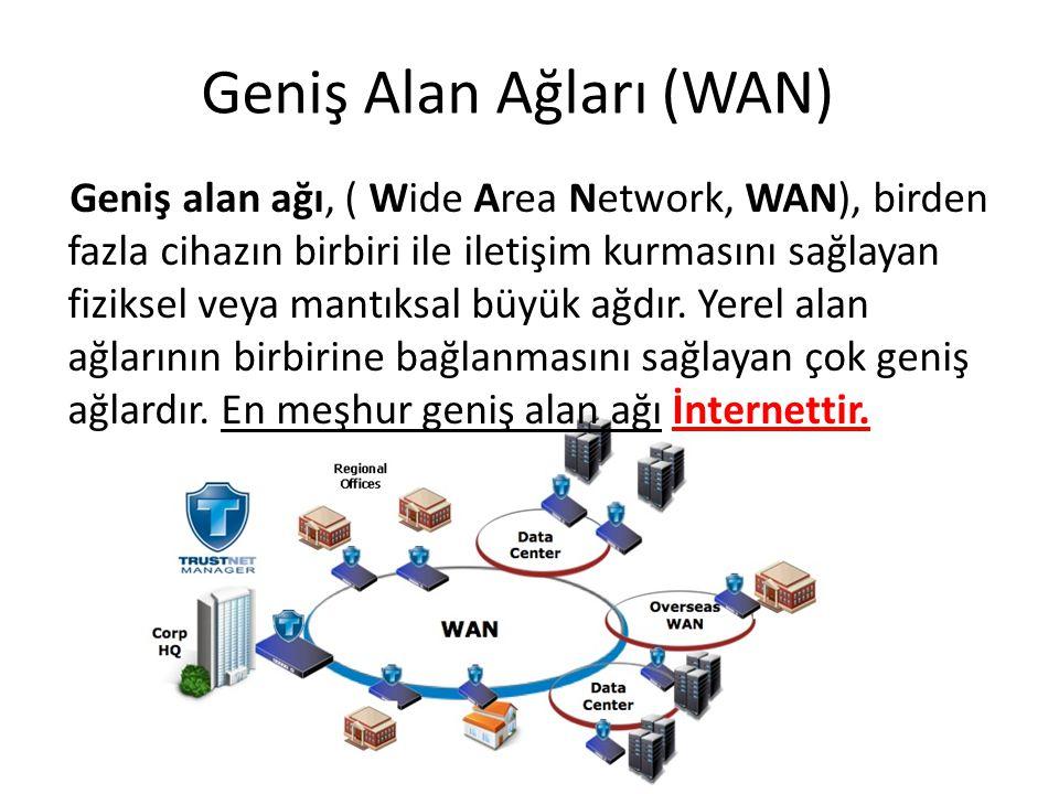 Geniş Alan Ağları (WAN) Geniş alan ağı, ( Wide Area Network, WAN), birden fazla cihazın birbiri ile iletişim kurmasını sağlayan fiziksel veya mantıksa