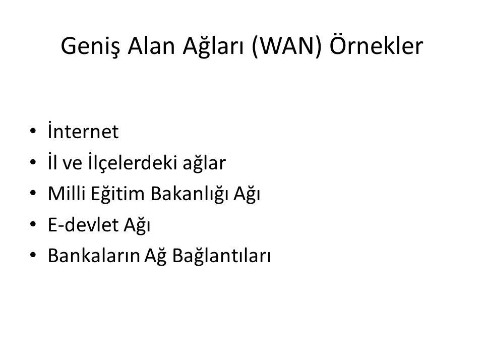 Geniş Alan Ağları (WAN) Örnekler İnternet İl ve İlçelerdeki ağlar Milli Eğitim Bakanlığı Ağı E-devlet Ağı Bankaların Ağ Bağlantıları