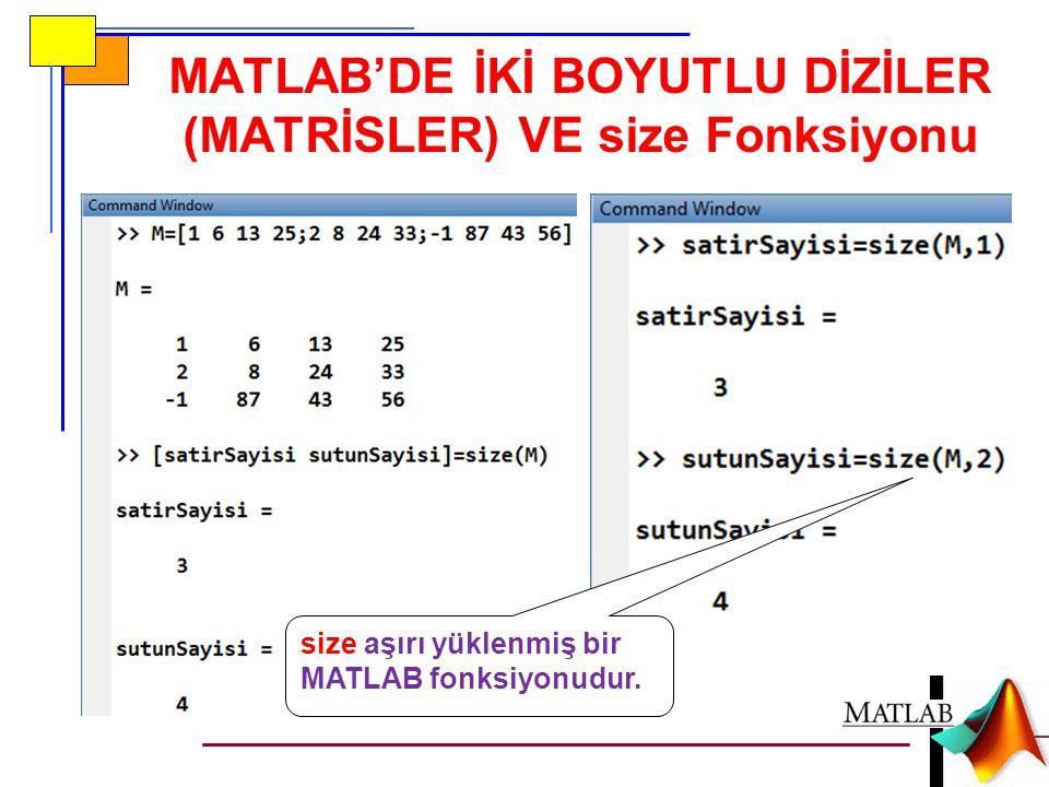 MATLAB'DE İKİ BOYUTLU DİZİLER (MATRİSLER) VE size Fonksiyonu size aşırı yüklenmiş bir MATLAB fonksiyonudur.