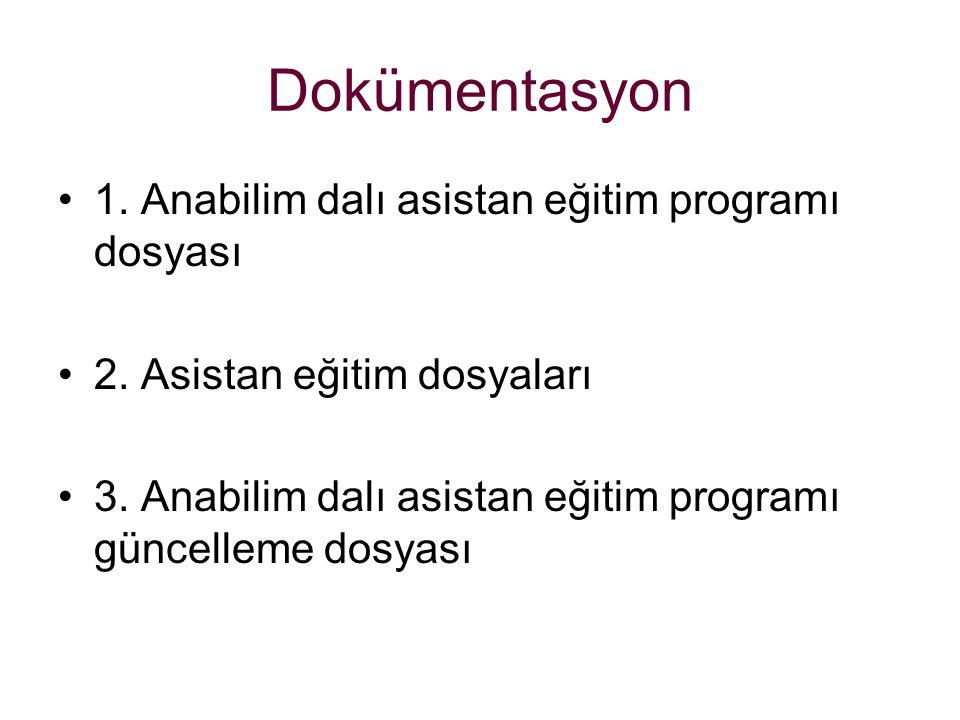 Dokümentasyon 1.Anabilim dalı asistan eğitim programı dosyası 2.