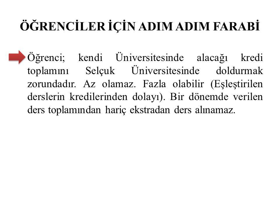 ÖĞRENCİLER İÇİN ADIM ADIM FARABİ Öğrenci; kendi Üniversitesinde alacağı kredi toplamını Selçuk Üniversitesinde doldurmak zorundadır.
