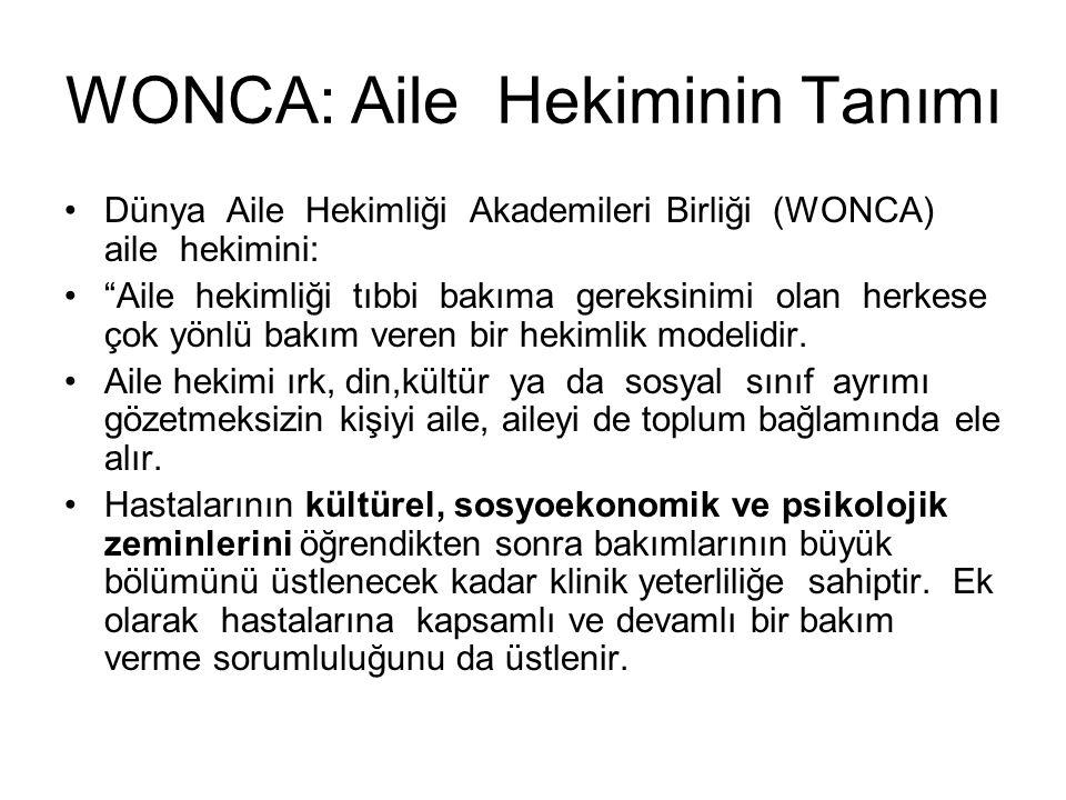 """WONCA: Aile Hekiminin Tanımı Dünya Aile Hekimliği Akademileri Birliği (WONCA) aile hekimini: """"Aile hekimliği tıbbi bakıma gereksinimi olan herkese çok"""