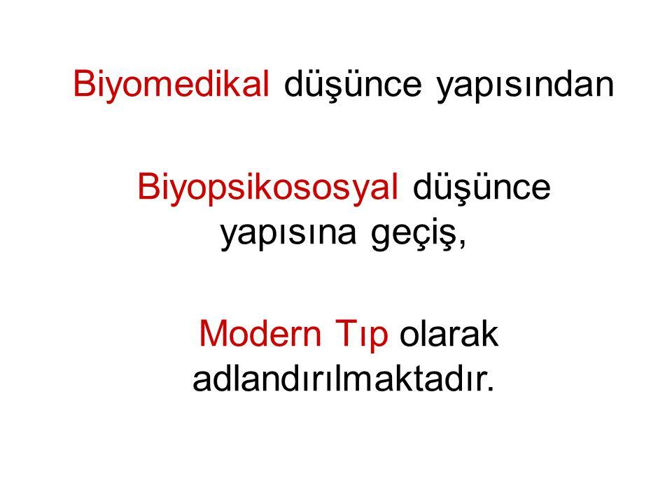 Biyomedikal düşünce yapısından Biyopsikososyal düşünce yapısına geçiş, Modern Tıp olarak adlandırılmaktadır.