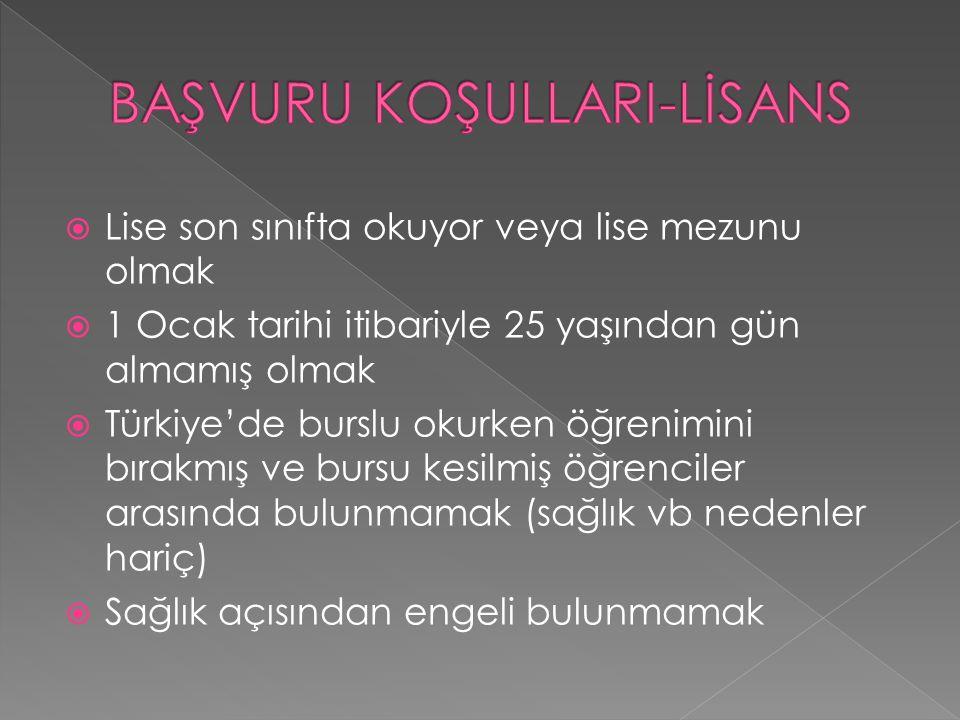  Lise son sınıfta okuyor veya lise mezunu olmak  1 Ocak tarihi itibariyle 25 yaşından gün almamış olmak  Türkiye'de burslu okurken öğrenimini bırak