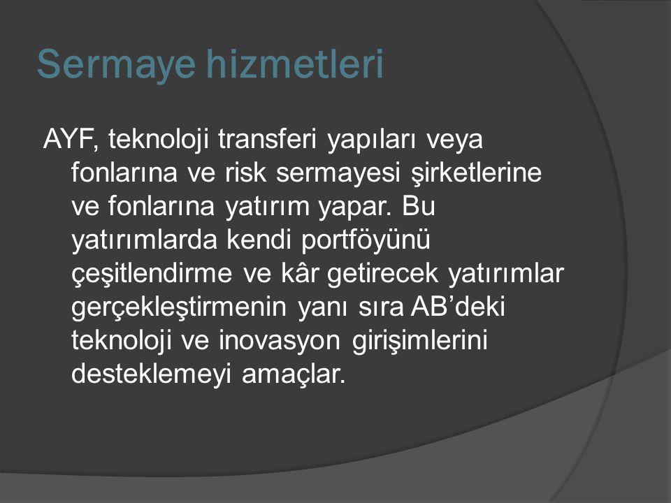 Sermaye hizmetleri AYF, teknoloji transferi yapıları veya fonlarına ve risk sermayesi şirketlerine ve fonlarına yatırım yapar. Bu yatırımlarda kendi p