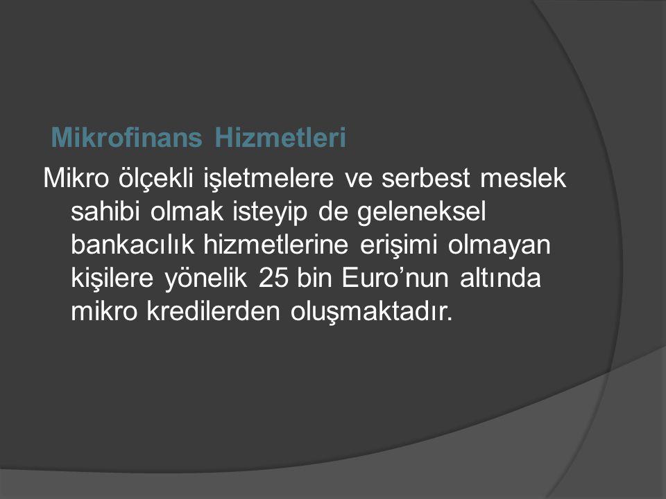 Mikrofinans Hizmetleri Mikro ölçekli işletmelere ve serbest meslek sahibi olmak isteyip de geleneksel bankacılık hizmetlerine erişimi olmayan kişilere yönelik 25 bin Euro'nun altında mikro kredilerden oluşmaktadır.