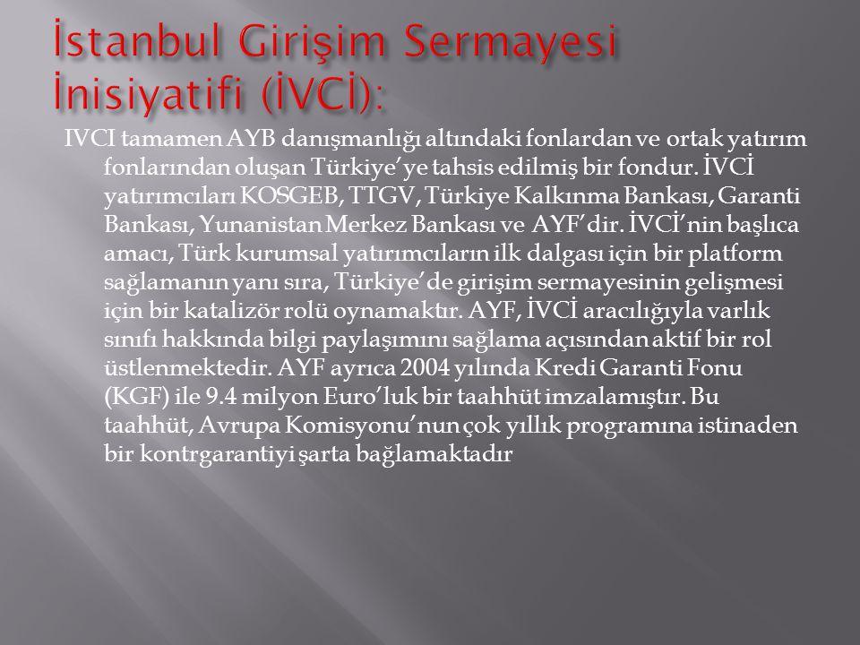 IVCI tamamen AYB danışmanlığı altındaki fonlardan ve ortak yatırım fonlarından oluşan Türkiye'ye tahsis edilmiş bir fondur. İVCİ yatırımcıları KOSGEB,