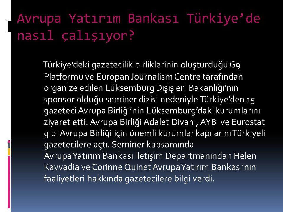 Avrupa Yatırım Bankası Türkiye'de nasıl çalışıyor.