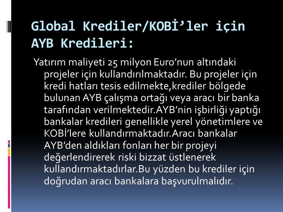 Global Krediler/KOBİ'ler için AYB Kredileri: Yatırım maliyeti 25 milyon Euro'nun altındaki projeler için kullandırılmaktadır. Bu projeler için kredi h