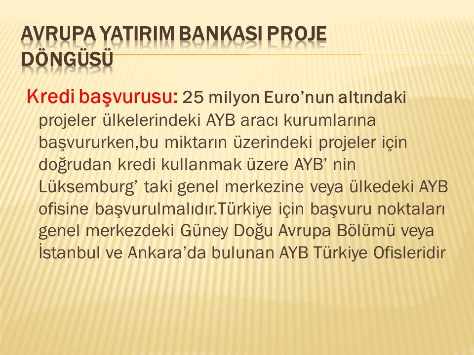 Kredi başvurusu: 25 milyon Euro'nun altındaki projeler ülkelerindeki AYB aracı kurumlarına başvururken,bu miktarın üzerindeki projeler için doğrudan k