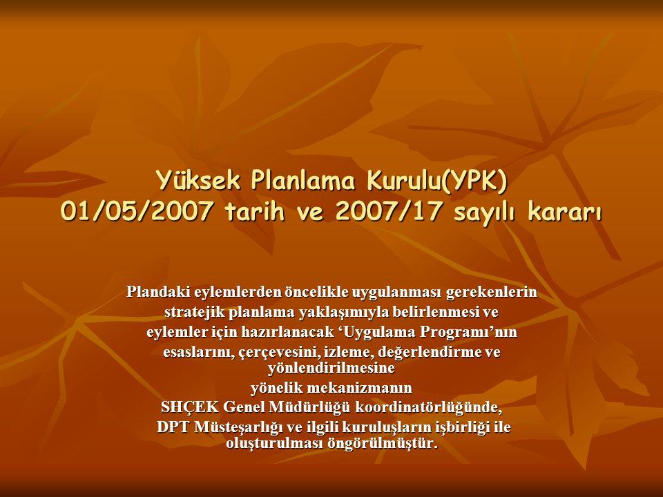 Yüksek Planlama Kurulu(YPK) 01/05/2007 tarih ve 2007/17 sayılı kararı Plandaki eylemlerden öncelikle uygulanması gerekenlerin stratejik planlama yakla