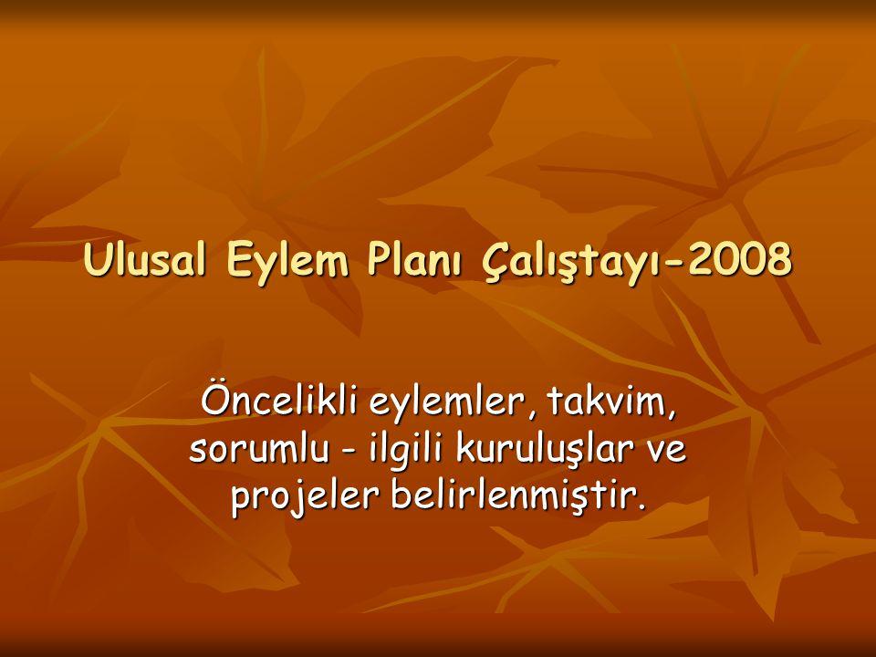 Ulusal Eylem Planı Çalıştayı-2008 Öncelikli eylemler, takvim, sorumlu - ilgili kuruluşlar ve projeler belirlenmiştir.