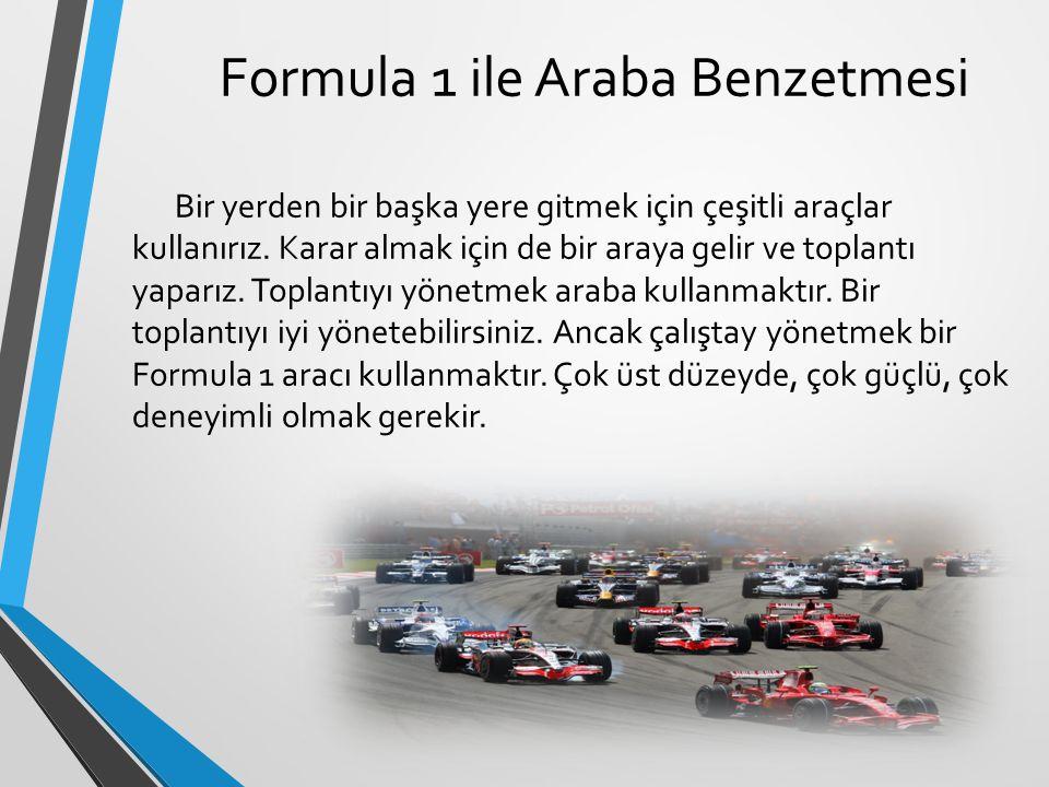 Formula 1 ile Araba Benzetmesi Bir yerden bir başka yere gitmek için çeşitli araçlar kullanırız. Karar almak için de bir araya gelir ve toplantı yapar