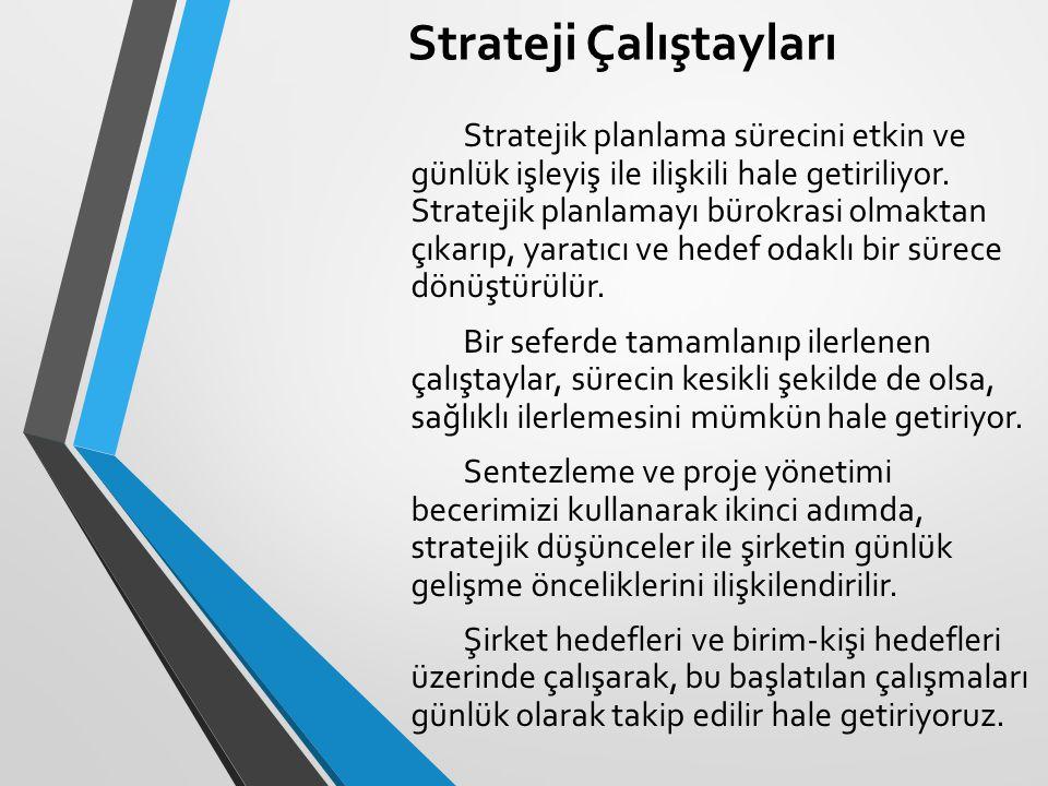 Strateji Çalıştayları Stratejik planlama sürecini etkin ve günlük işleyiş ile ilişkili hale getiriliyor. Stratejik planlamayı bürokrasi olmaktan çıkar